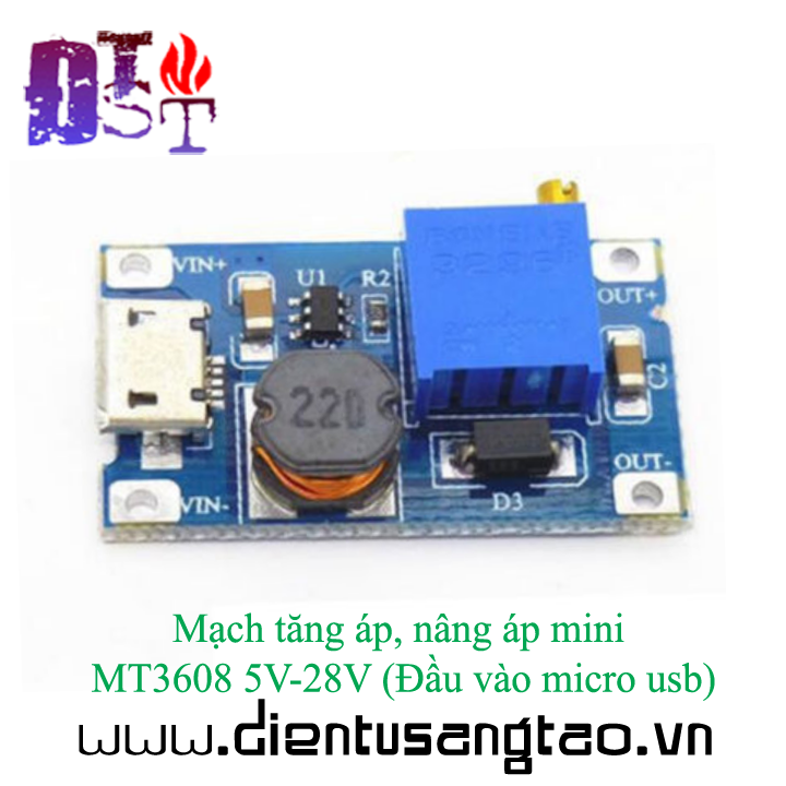 Mạch tăng áp, nâng áp mini MT3608 5V-28V Đầu vào micro usb 4