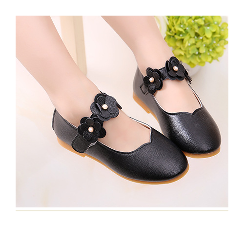 Giày búp bê hoa màu đen cho bé gái