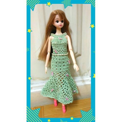 Búp bê Licca tóc vàng đầm len da hội xanh lơ đính cườm