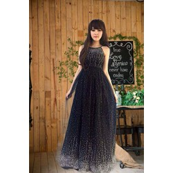 Đầm dạ hội cổ yếm đính kim sa nổi cực xinh - Hình thật SP shop chụp