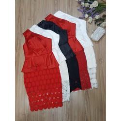 Đầm body chéo vai 3 màu trắng, đen, đỏ