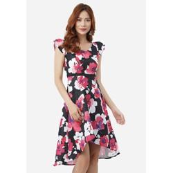 Đầm Mullet Tay Búp Sen - Họa Tiết Hoa Hồng - CIRINO