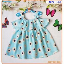 Đầm lụa 2 dây tầng xinh xắn cho bé ngày hè