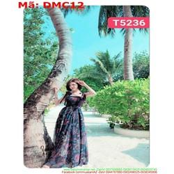Đầm maxi nữ đi biển 2 dây vải hoa 3d xinh xắn DMC12