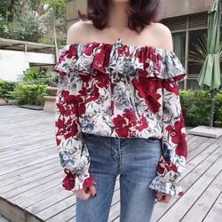Áo bẹt vai hoa
