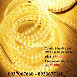 Combo 10m đèn led dây 5050 bọc nhựa cao cấp + tặng 01 nguồn dây led - đèn led trang trí lễ - CBDL5050