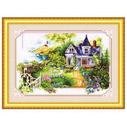 Tranh thêu chữ thập phong cảnh nhà