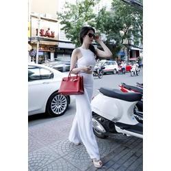 Chuyên sỉ - Set áo crop top kết hợp quần dài trắng sang chảnh