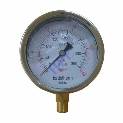 Đồng hồ đo áp suất phi 100 có dầu 25 Kg