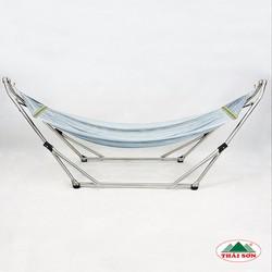 Bộ Khung Võng Xếp Thái Sơn - Đầu Cong Relax + Võng Lưới Xám