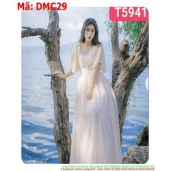Đầm maxi đi biển xòe dài ren trắng sành điệu DMC29