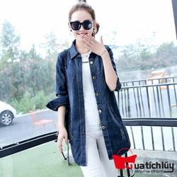 Áo khoác jean nữ form dài đắp chữ sau lưng
