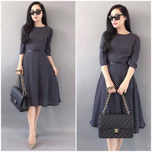 Đầm Voan Vintage Chấm Bi Kèm Thắt Lưng