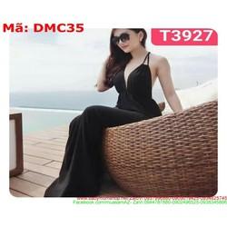 Đầm maxi đi biển cộ dây sau hở lưng màu đen sang trọng DMC35