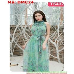 Đầm maxi đi biển cổ yếm vải hoa voan nhẹ nhàng DMC24