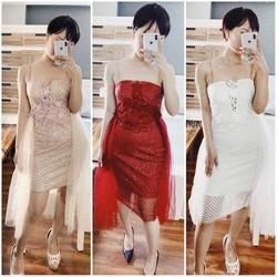 Đầm body kim sa kết hoa ngực 3d cao cấp 4 màu trắng, đỏ, xám,hồng