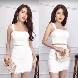 SET Áo crop chân váy BỐ hot girl Siêu Xinh