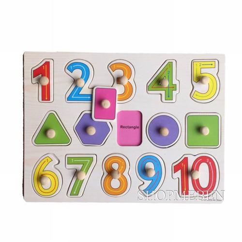 Bảng học số và hình khối có núm cầm bằng gỗ cho bé