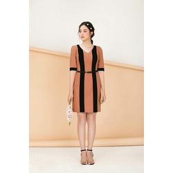Đầm công sở phối sọc đen