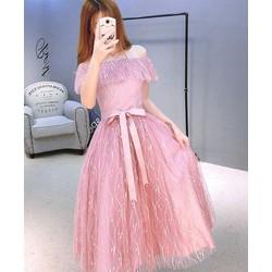 Đầm xoè bẹt vai công chúa ren y hình - kèm ảnh thật