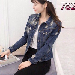 Áo khoác jeans rách nhập