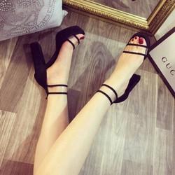 giày đế vuông đúp gót cao 10p
