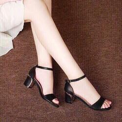 Giày cao gót quai ngang đế viền vàng thời trang