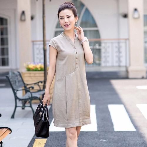 Đầm suông bổ trụ phối túi phong cách Hàn Quốc. DS33