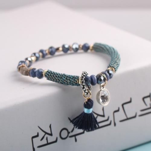 Vòng tay đá pha lê phong thủy may mắn kim cương tua rua xanh dương
