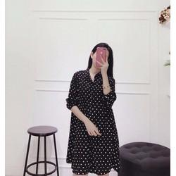 Đầm đen chấm bi form suông Basic