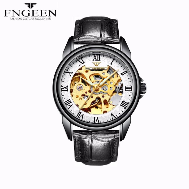 Đồng hồ nam lộ máy cơ tự động FNGEEN-Mặt trắng đen dây da đen | FN17 1