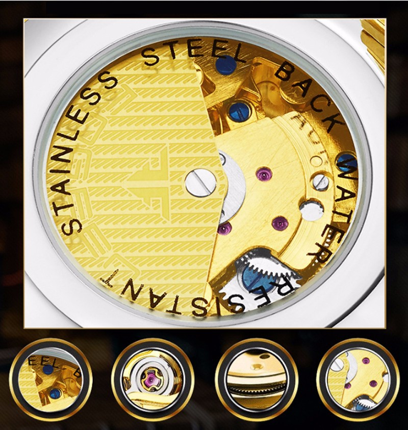Đồng hồ nữ cơ tự động lộ máy  FNGEEN-Dây da mặt đen-vàng| FN01N 8