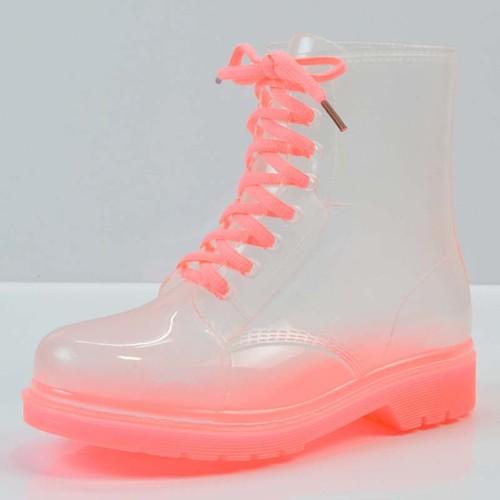 giày boot nữ trong suốt Mã: GC0254 - HỒNG