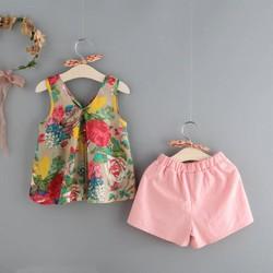 đồ bộ cotton mặc nhà mùa hè cho bé gái