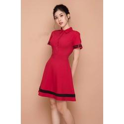Đầm Xòe Cổ Sơ Mi Viền - Đỏ