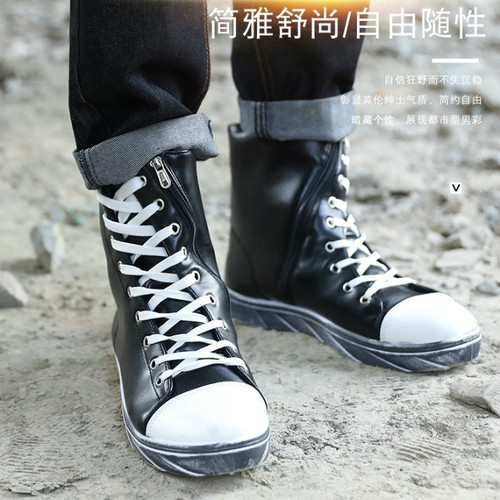 giày boot nam dây kéo xéo Mã: GH0272 - TRẮNG ĐEN