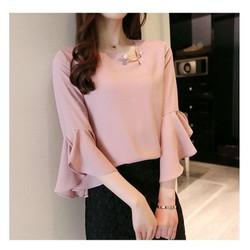 áo kiểu tay loe TB0542 voan - m - hồng