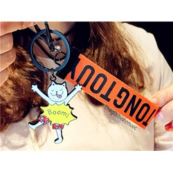 Móc Khóa Sticker Hoạt Hình Mèo Trắng Có Dây Cam