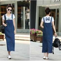 Đầm Jean Yếm Form Dài phong cách thời trang