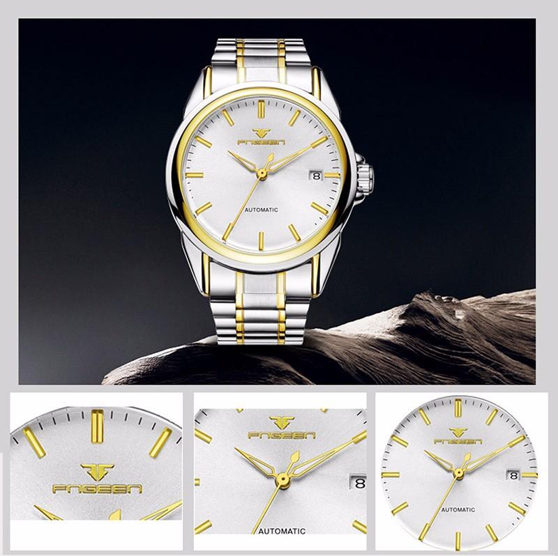 Đồng hồ nữ cơ tự động lộ máy  FNGEEN-Dây da mặt đen-vàng| FN01N 6
