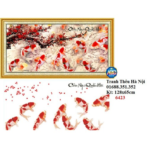 Tranh đính đá Cửu ngư quần hội DF205-128x65cm