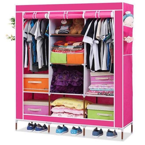 Tủ vải 3 buồng 8 ngăn khung sắt
