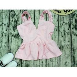 Áo hồng 2 dây xẻ ngực