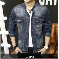 Áo Khoác Jeans Nam Cổ Trụ Xuất Khẩu Size Lớn