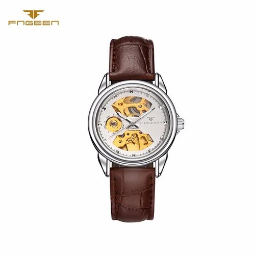 Đồng hồ nữ cơ tự động lộ máy  FNGEEN-Dây da mặt trắng   FN02N