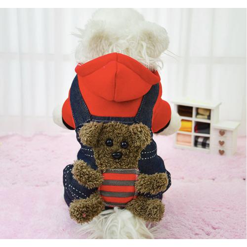 Áo chó mèo gấu bông A21 Đỏ size XS