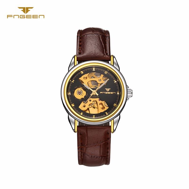 Đồng hồ nữ cơ tự động lộ máy  FNGEEN-Dây da mặt đen-vàng| FN01N 1