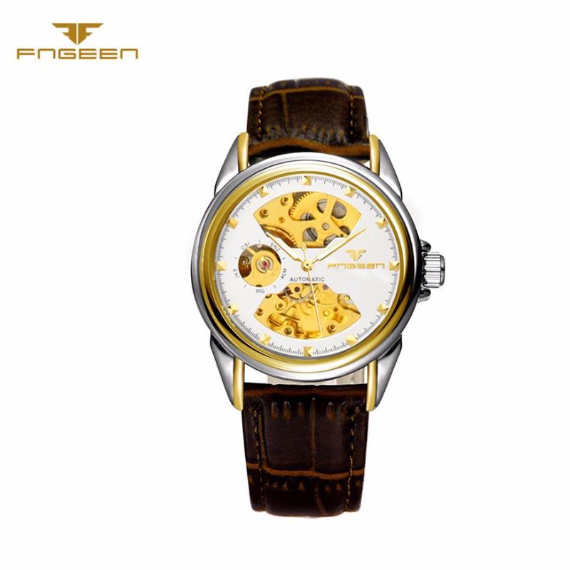 Đồng hồ nữ cơ tự động lộ máy  FNGEEN-Dây da mặt đen-vàng| FN01N 5