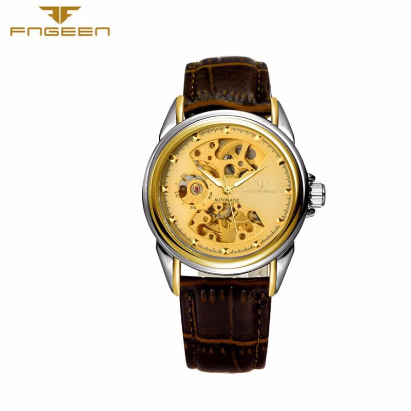 Đồng hồ nữ cơ tự động lộ máy  FNGEEN-Dây da mặt đen-vàng| FN01N 3