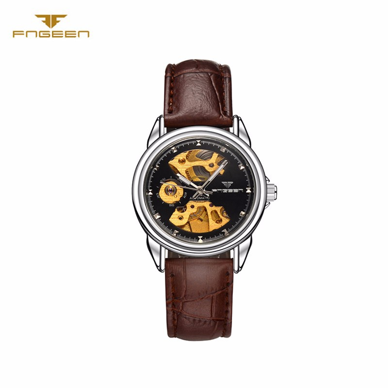 Đồng hồ nữ cơ tự động lộ máy  FNGEEN-Dây da mặt đen-vàng| FN01N 4